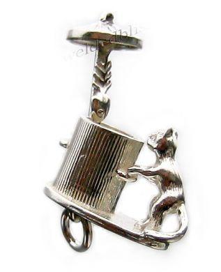 Cat bin fish sterling silver charm