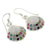 Earrings Silver Shell Gem Set