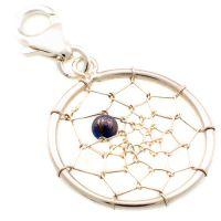 Dream Catcher Silver & Lapis Charm