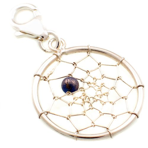 Dream Catcher Silver & Lapis Charm