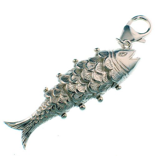 Fish Articulated Joints Large Silver Charm
