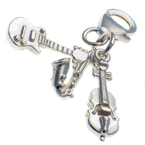 Guitar, Sax, violin 3 pt Sterling Silver Charm