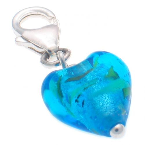 Heart Blue Glass Charm