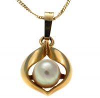 9ct Gold Pearl Pendant & Chain