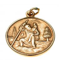 9ct Gold St Christopher Medallion Charm