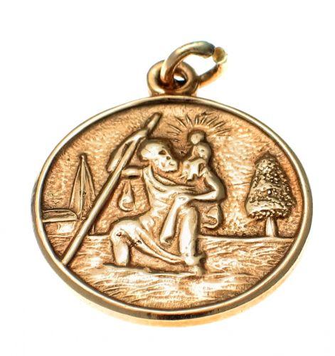 9ct Gold St Christopher Medallion Charm
