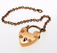 9ct gold Padlock & Safety Chain