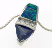 Pendant and Chain Silver Opaline