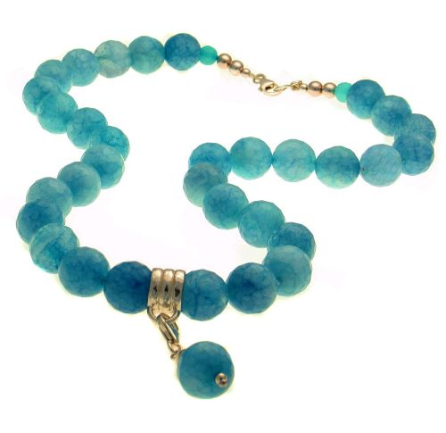 Blue Agate Bead Neclace