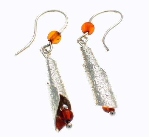 Earrings Silver & Amber