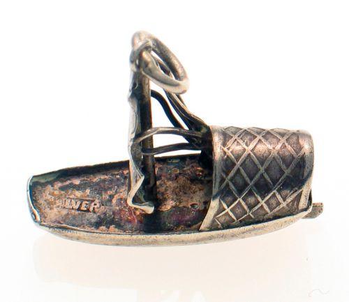 Sampan or Junk Boat Vintage Silver Charm