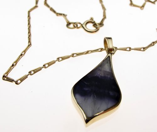 Blue John pendant and chain 9ct Gold