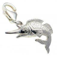 Fish Marlin Silver Charm