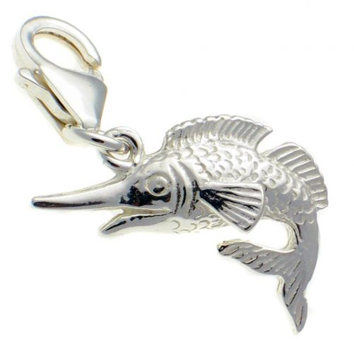 Fish Marlin Silver Charm