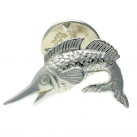 Fish Marlin Sterling 925 Silver Lapel Pin