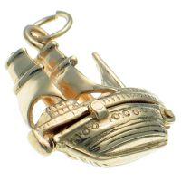 9ct Gold Mayflower Ship Opening Charm Pendant