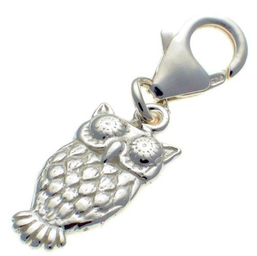 Owl Silver Charm