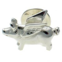 Pig Fying Sterling 925 Silver Lapel Pin