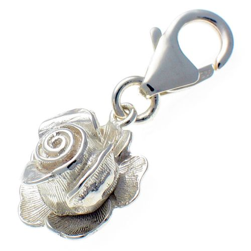 Rose and Ladybird Silver Charm