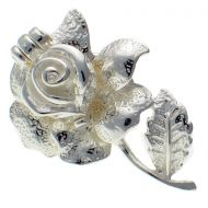 Rose and Bee Sterling 925 Silver Lapel Pin