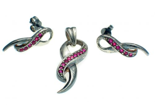 Silver Ruby Set Earring and Pendant Suite
