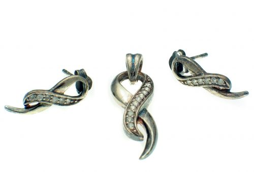 Silver CZ Set Earring and Pendant Suite