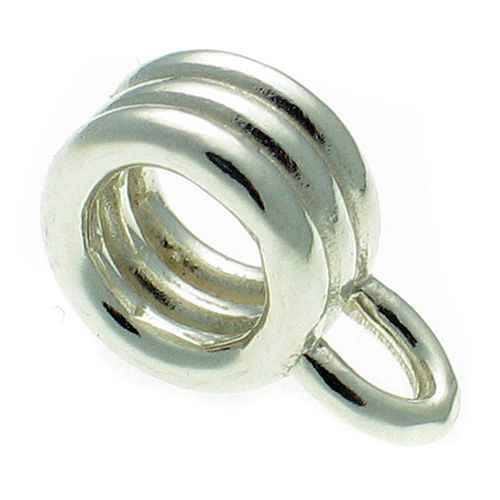 Triple Ring Bead Charm Carrier. Sterling 925 Silver