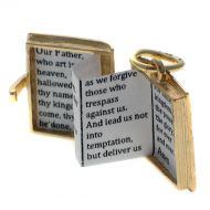 9ct Gold Bible Opening Charm Pendant with Lord's Prayer