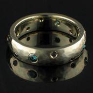 Blue & Black Diamond Ring White Gold