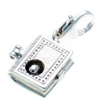 Bookworm Book Silver Charm