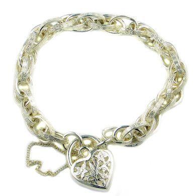Sterling silver charm bracelet fancy multi-link