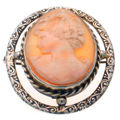 Cameo Brooch Sterling Silver