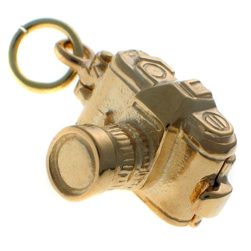 9ct Gold SLR Style Camera Opening Charm Pendant