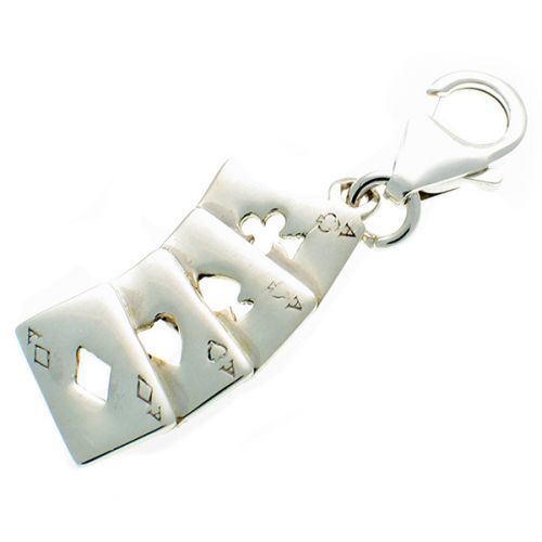 Aces set of Four Cards Sterling Silver Charm