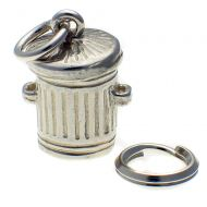 Cat in Dustbin Silver Charm
