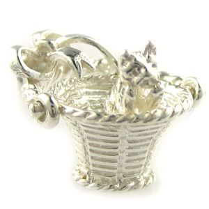 Cat in basket sterling silver charm