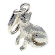 Cat Sitting Attentively Sterling Silver Charm