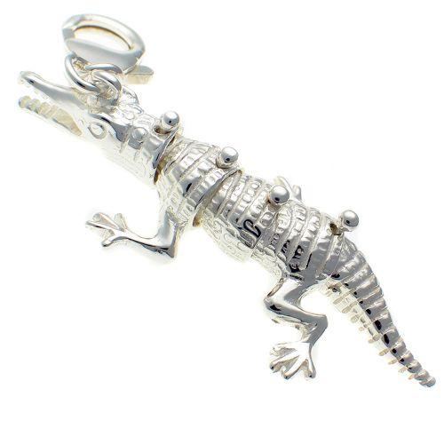 Crocodile Silver Large Charm Pendant
