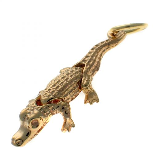 9ct Gold Crocodile, Moving Articulated Joints, Charm Pendant