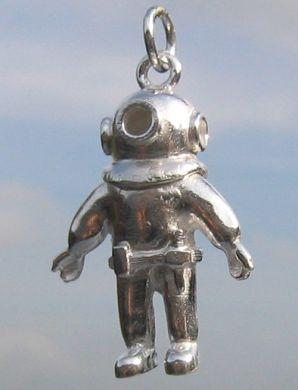 Sterling Silver Deep sea diver suit charm