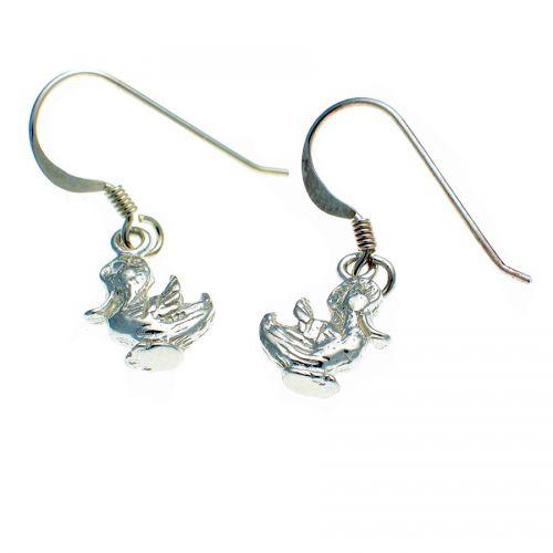 Sterling Silver Pair of Happy Duck Earrings