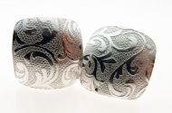 Earrings Embossed 'Fern' Pattern Sterling Silver