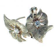 Earrings Leaf design Sterling Silver