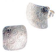 Earrings Embossed Fern Pattern Sterling Silver
