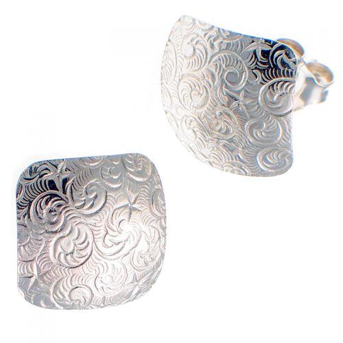 Earrings Embossed 'Starry Night' Pattern Sterling Silver