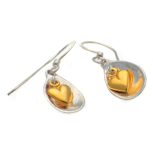 Earrings, Silver and gold hearts
