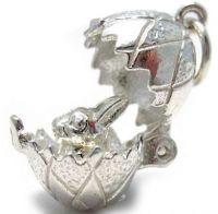 Egg bunny rabbit charm - sterling silver