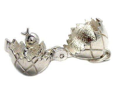 Easter Egg Opening Chick Charm Sterling Silver