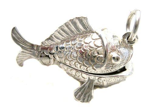 Fish Fisherman Silver Charm