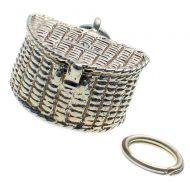 Fishing Basket Silver Charm